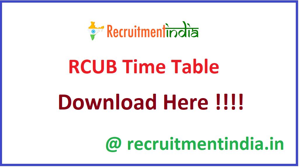 RCUB Time Table