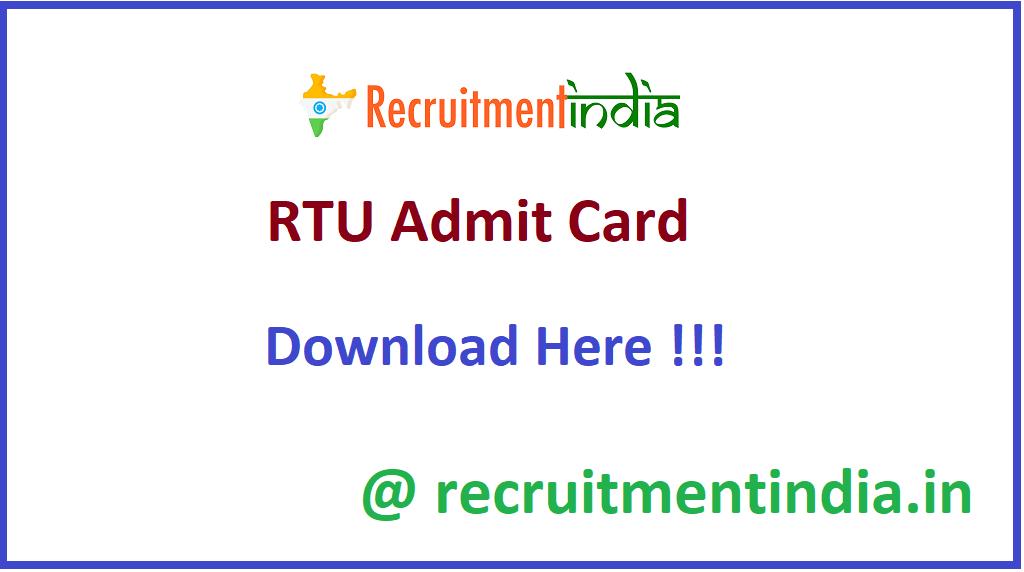 RTU Admit Card