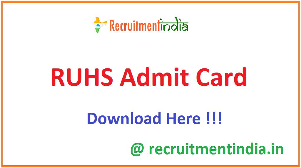 RUHS Admit Card