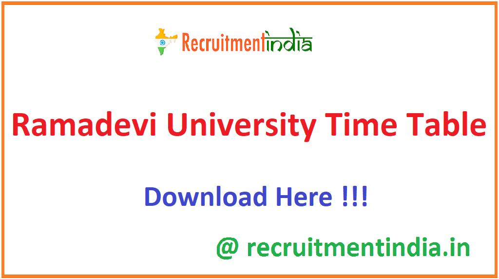 Ramadevi University Time Table