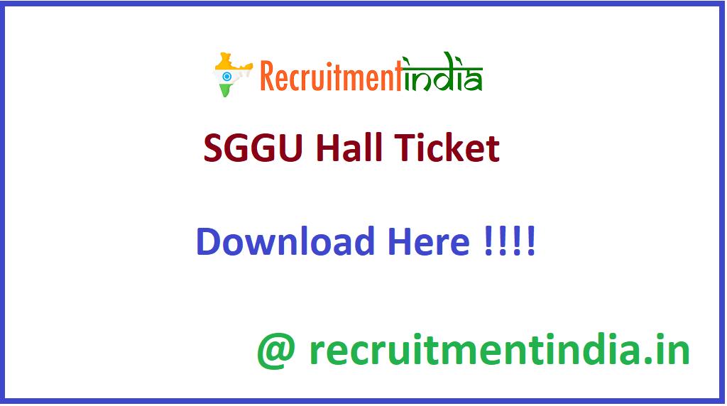 SGGU Hall Ticket
