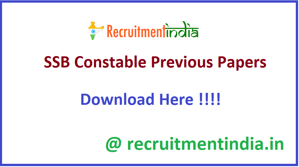 SSB Constable Previous Papers