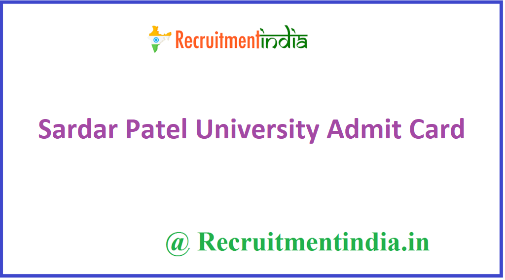 Sardar Patel University Admit Card