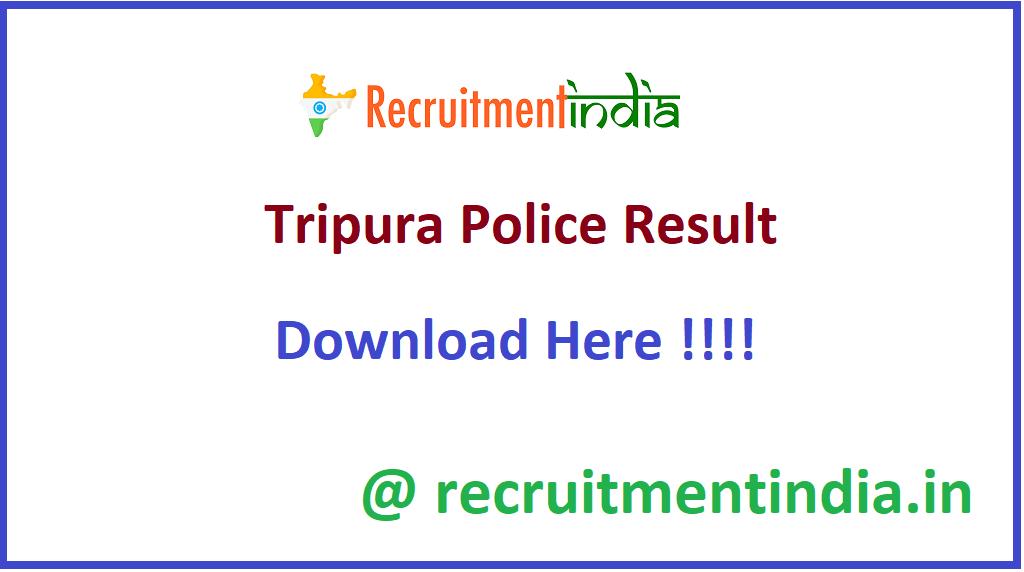 Tripura Police Result