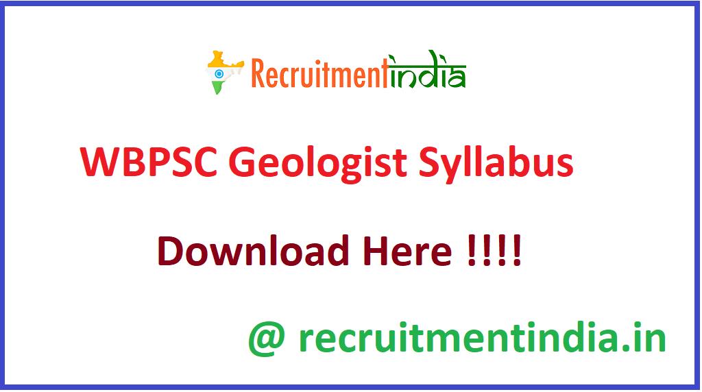 WBPSC Geologist Syllabus