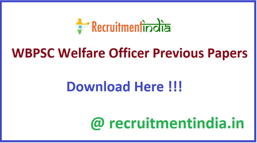 WBPSC Welfare Officer Previous Papers