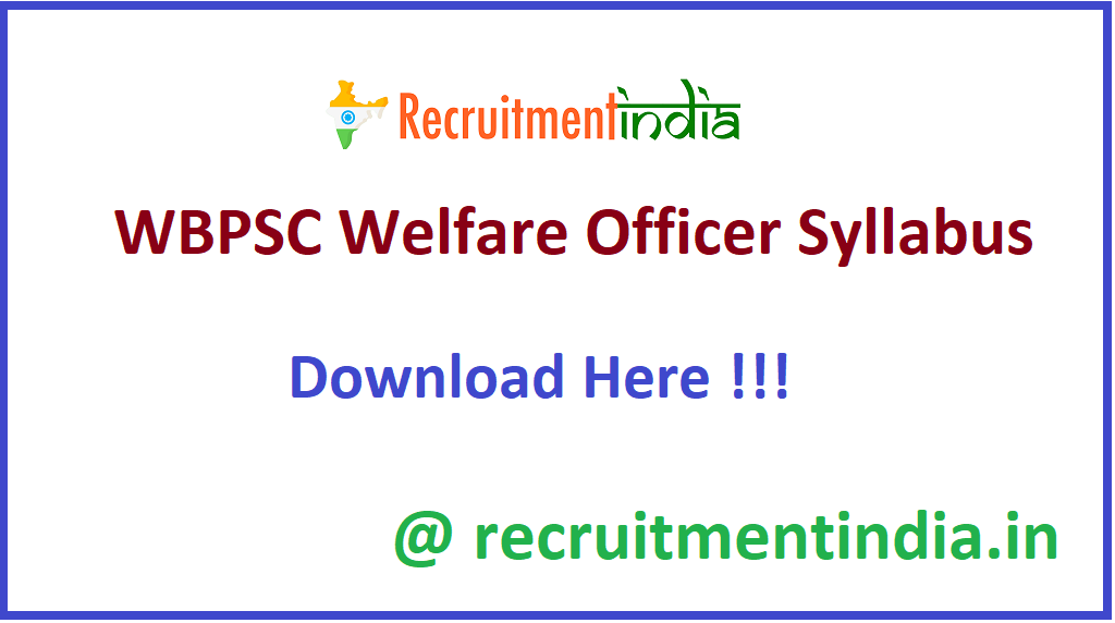 WBPSC Welfare Officer Syllabus