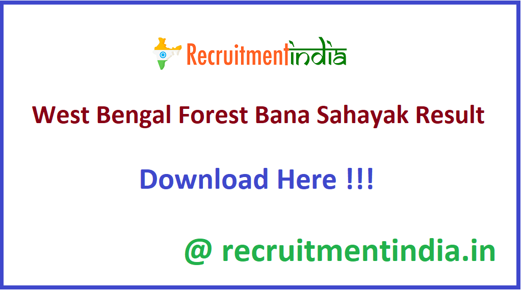 West Bengal Forest Bana Sahayak Result