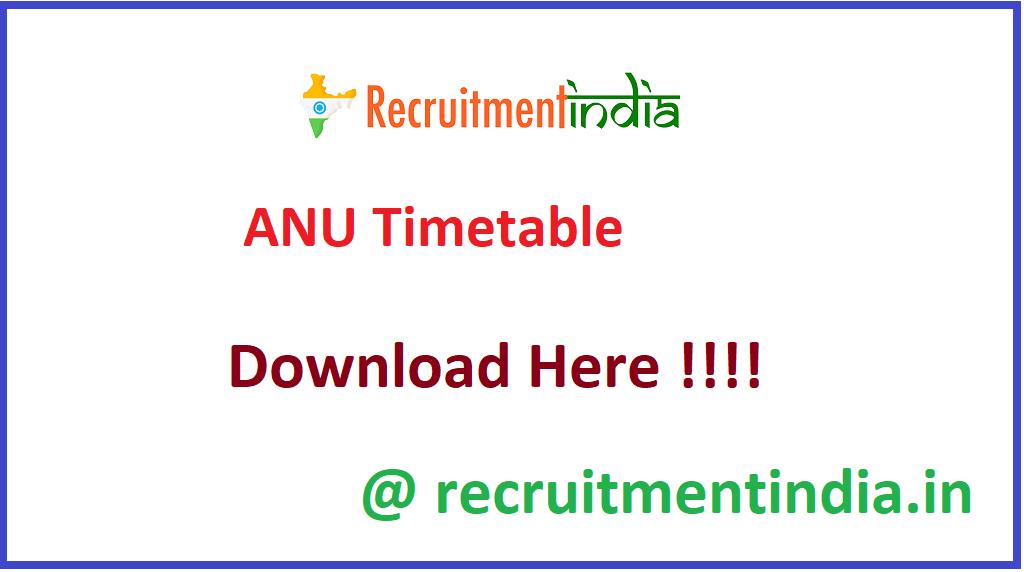 ANU Timetable