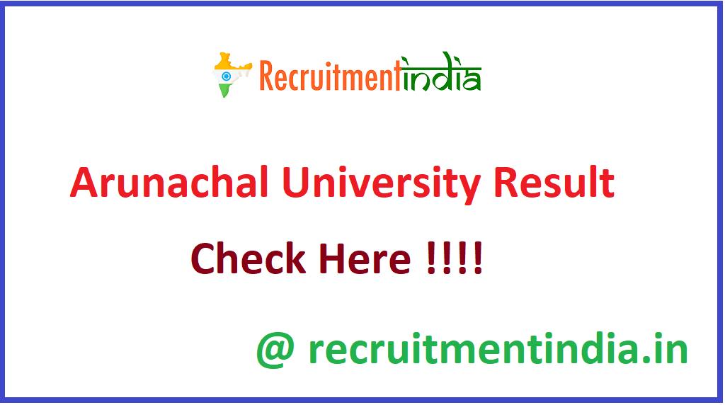Arunachal University Result