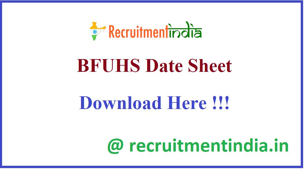 BFUHS Date Sheet