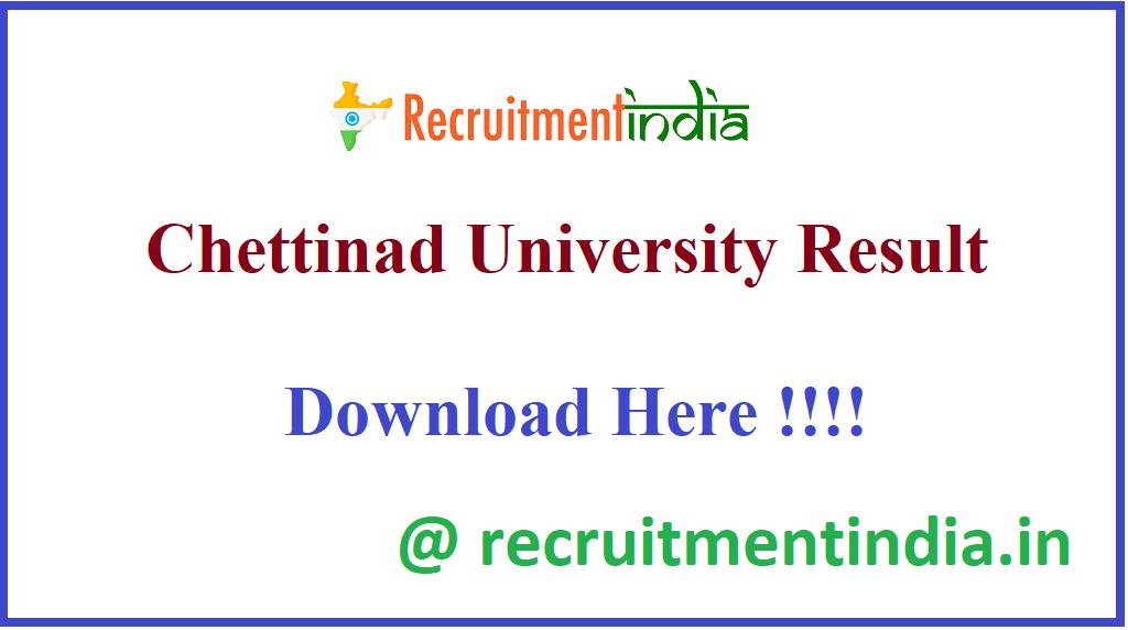Chettinad University Result