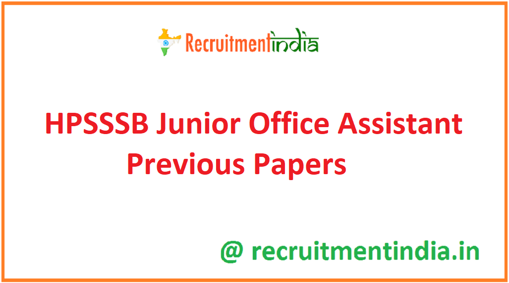 HPSSSB Junior Office Assistant Previous Papers