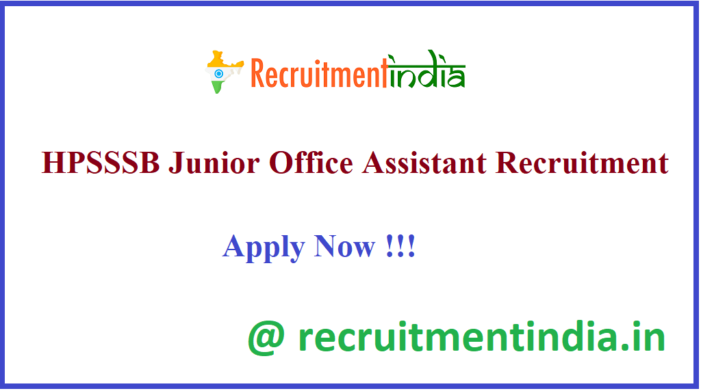 HPSSSB Junior Office Assistant Recruitment