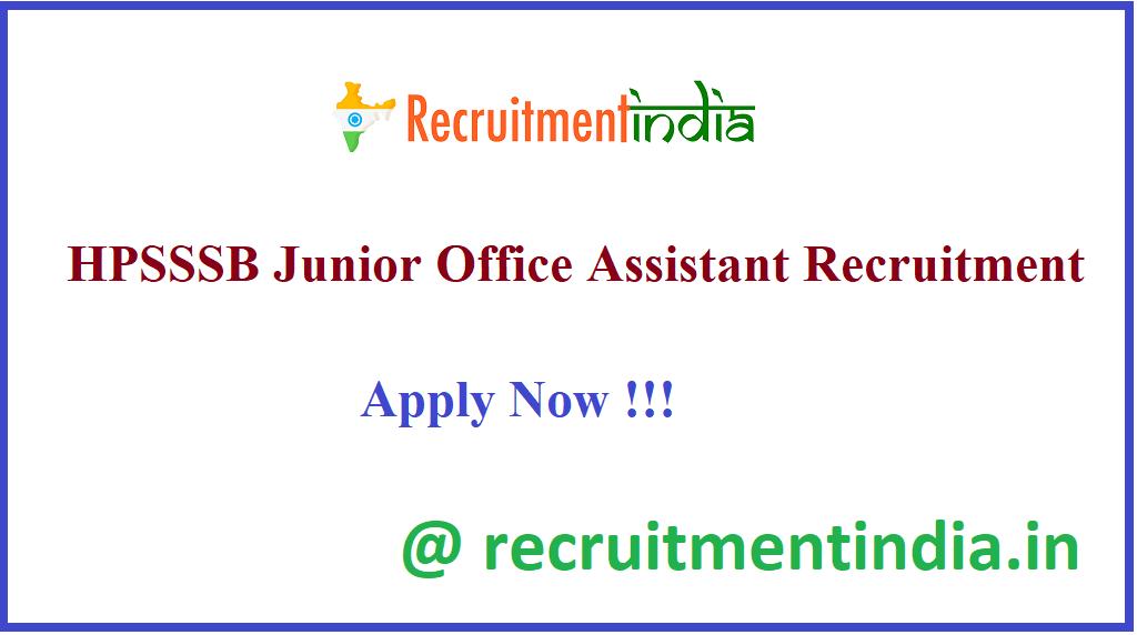 HPSSSB Junior Office Assistant Recruitment