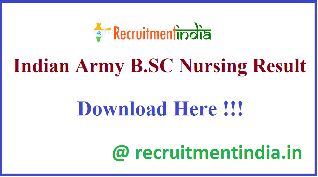 Indian Army B.SC Nursing Result