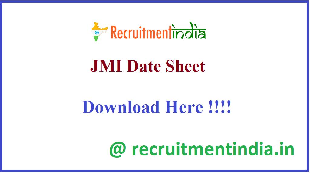 JMI Date Sheet