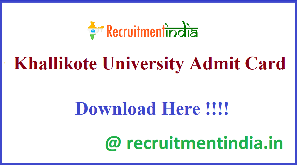 Khallikote University Admit Card