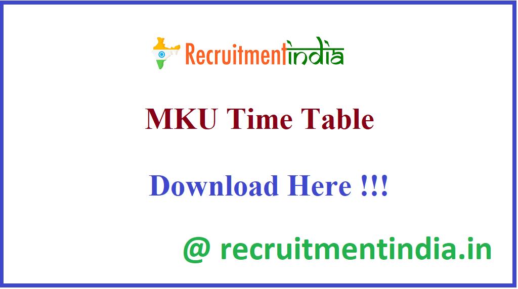 MKU Time Table