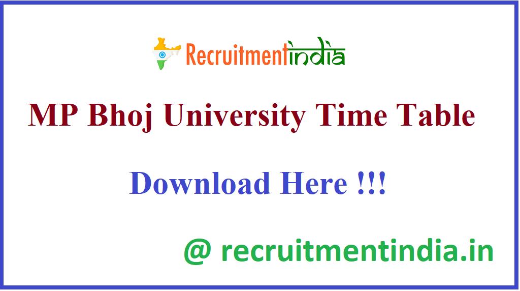 MP Bhoj University Time Table