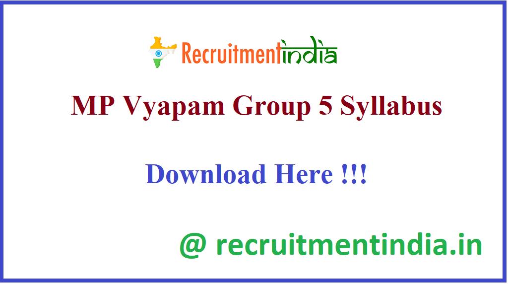 MP Vyapam Group 5 Syllabus
