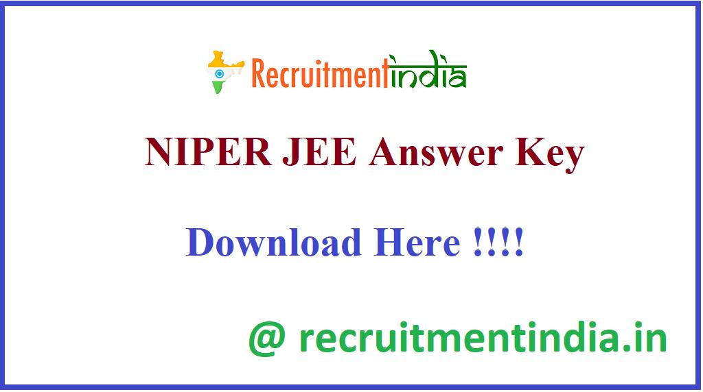 NIPER JEE Answer Key