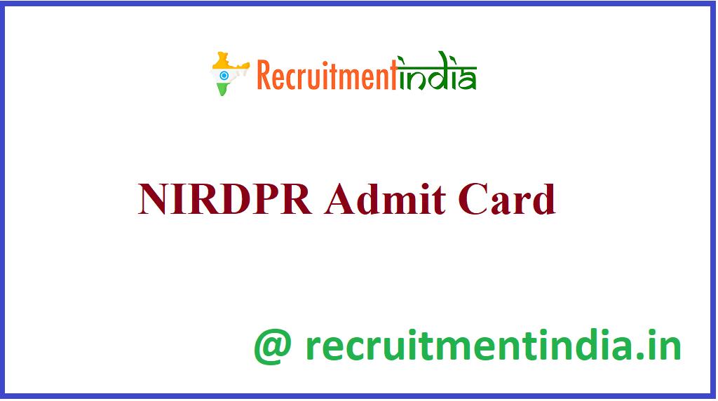 NIRDPR Admit Card