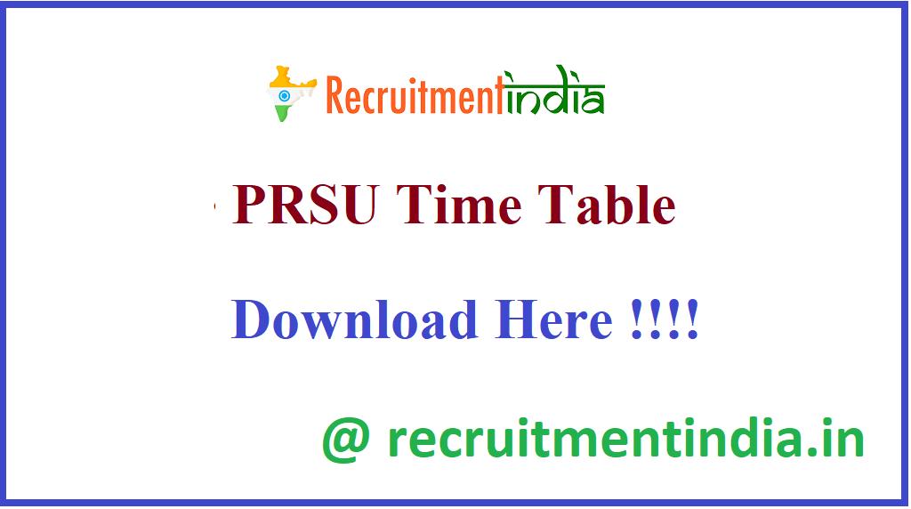 PRSU Time Table