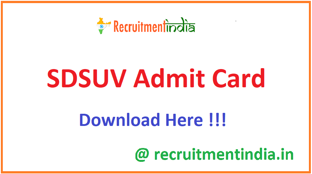 SDSUV Admit Card