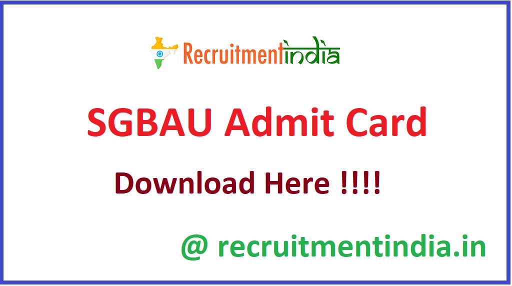 SGBAU Admit Card