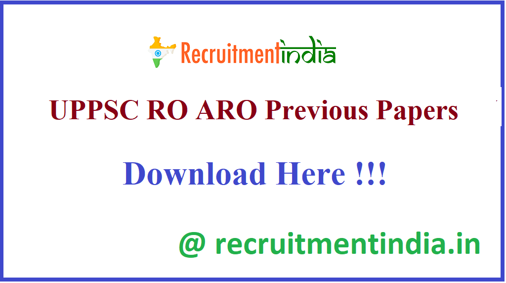 UPPSC RO ARO Previous Papers