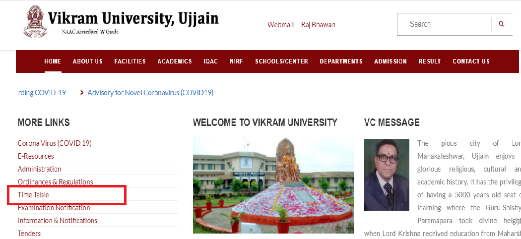 Vikram University Time Table