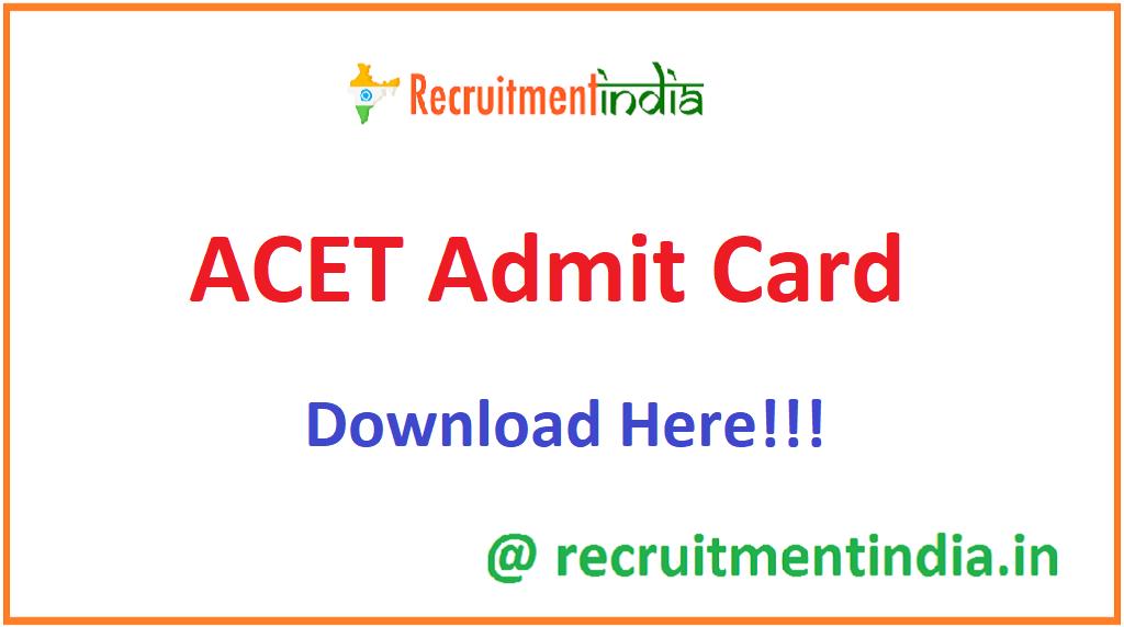 ACET Admit Card
