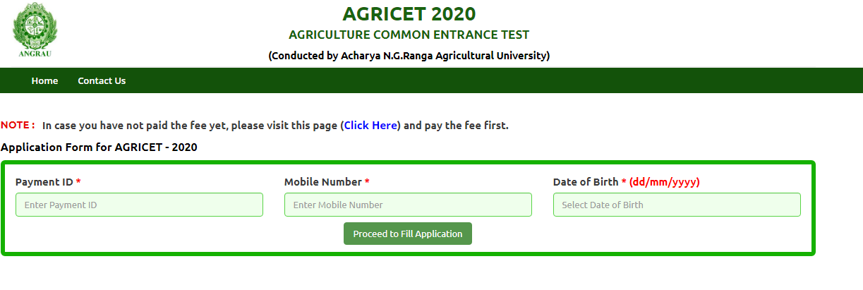 AP AGRICETApplication Form