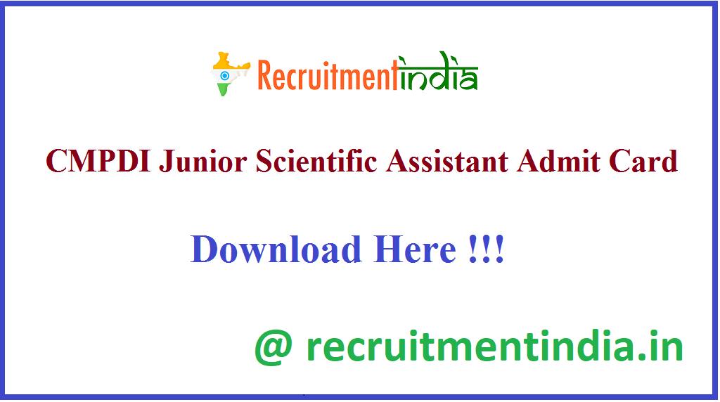 CMPDI Junior Scientific Assistant Admit Card