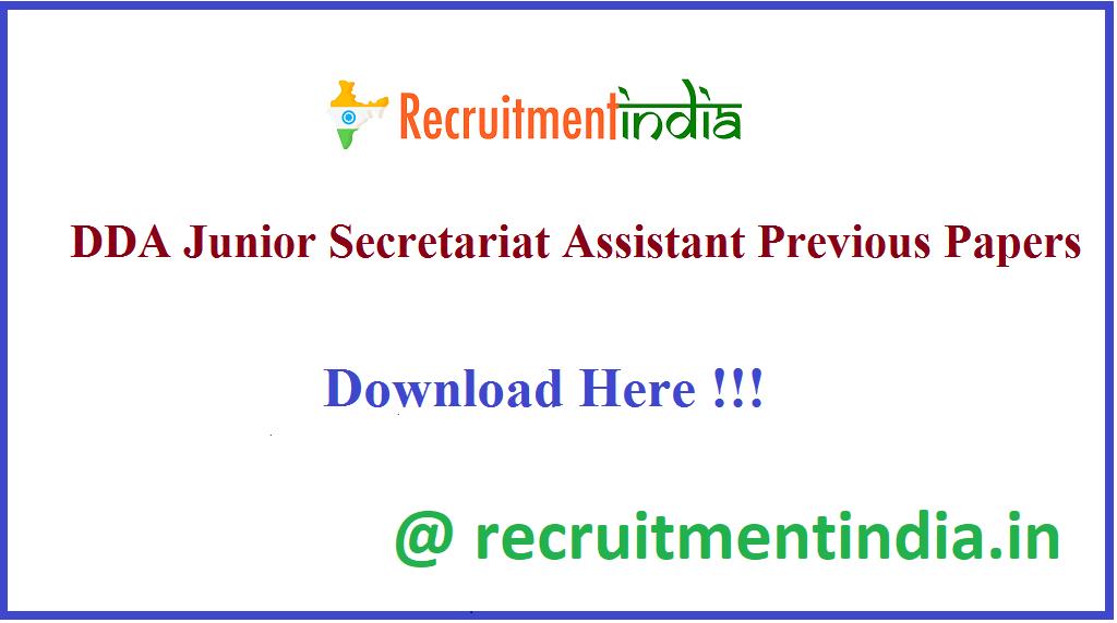 DDA Junior Secretariat Assistant Previous Papers