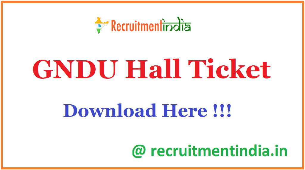 GNDU Hall Ticket