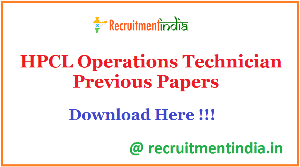 HPCL Operations Technician Previous Papers