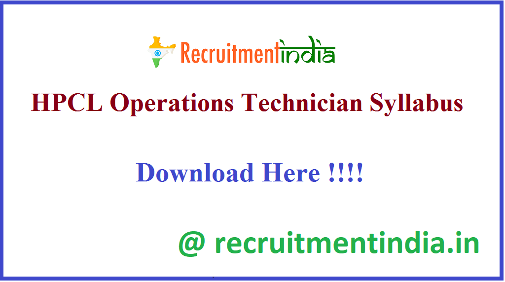 HPCL Operations Technician Syllabus