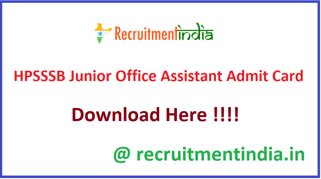 HPSSSB Junior Office Assistant Admit Card