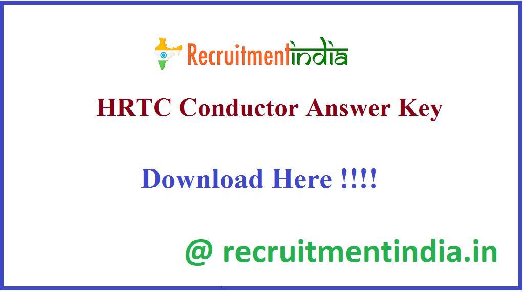 HRTC Conductor Answer Key
