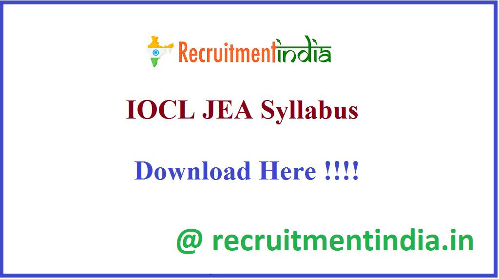 IOCL JEA Syllabus