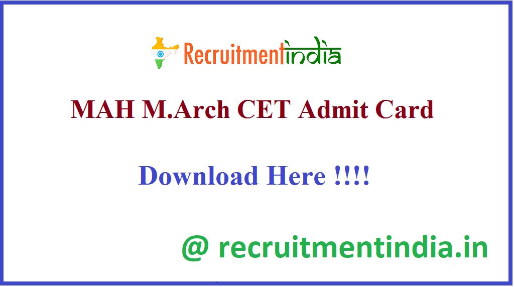 MAH M.Arch CET Admit Card