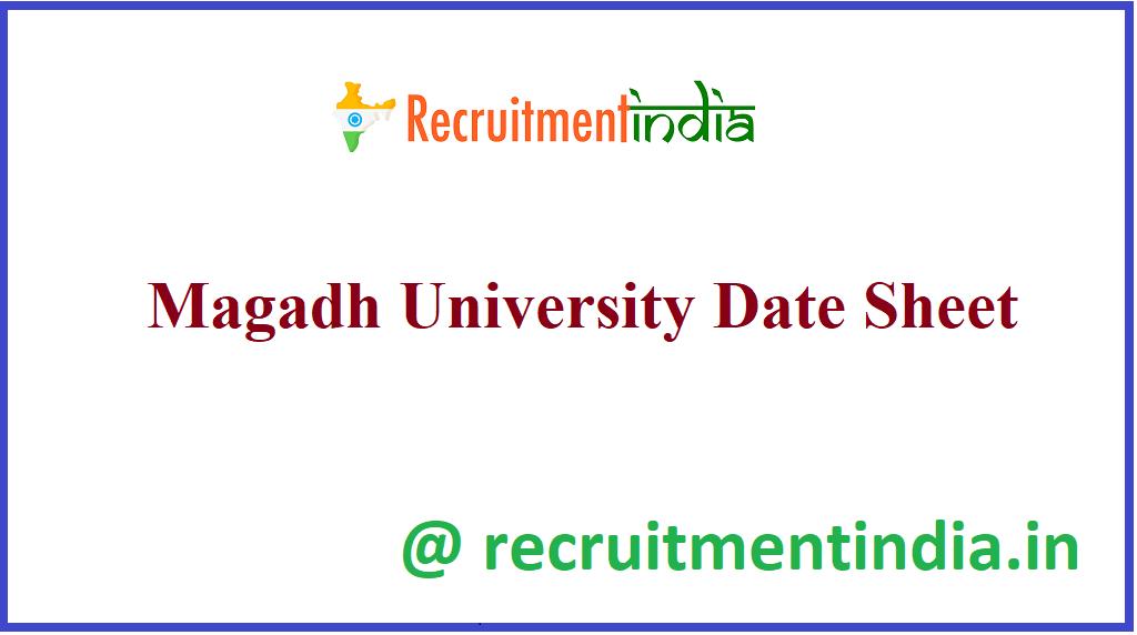 Magadh University Date Sheet