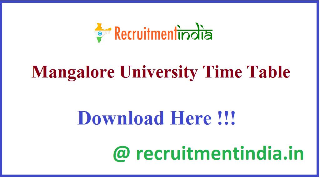 Mangalore University Time Table