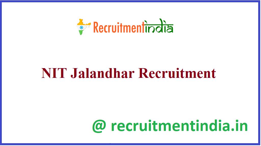NIT Jalandhar Recruitment