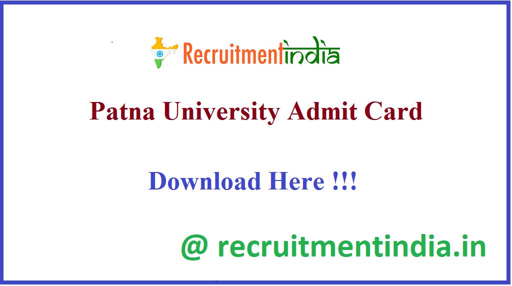 Patna University Admit Card