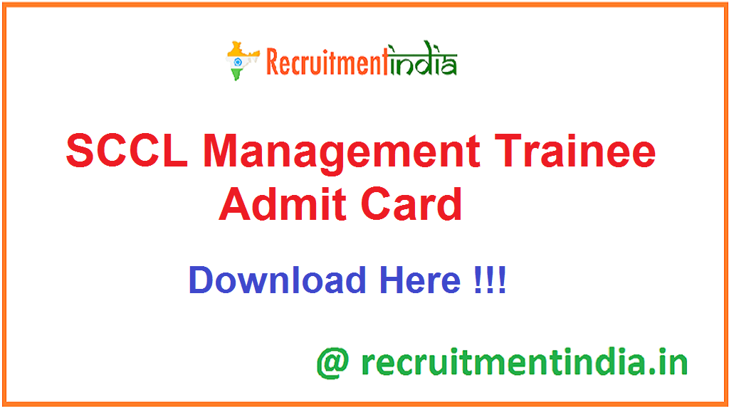 SCCL Management Trainee Admit Card