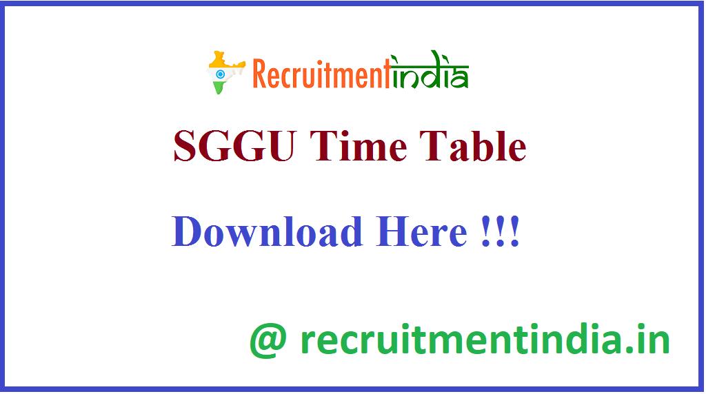 SGGU Time Table
