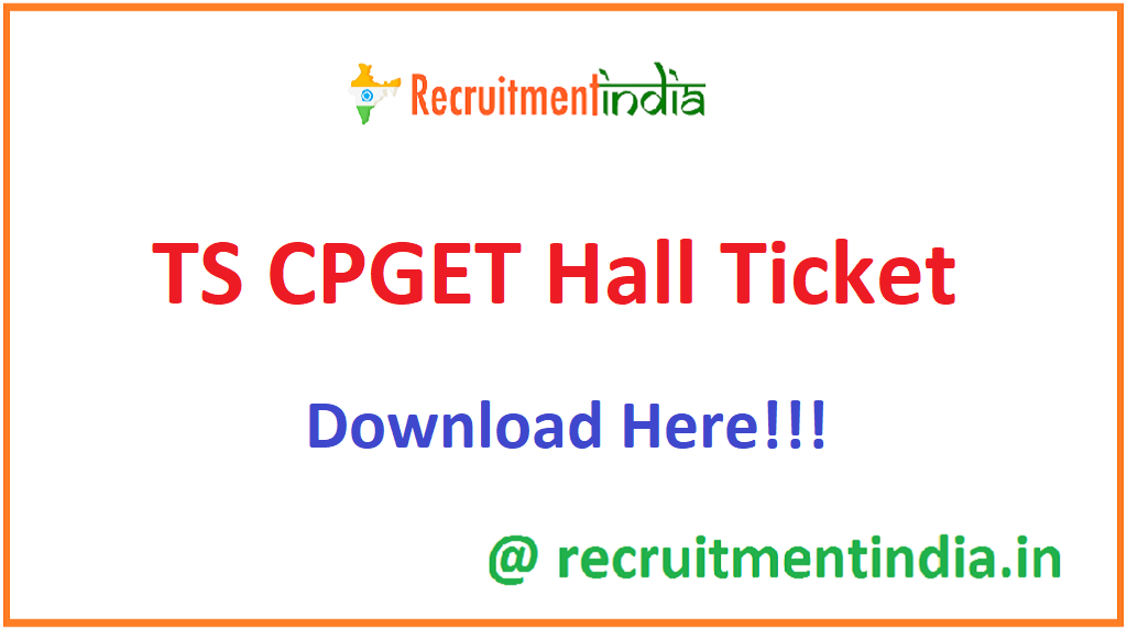 TS CPGET Hall Ticket